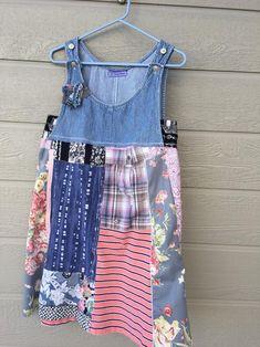 Patchwork Steampunk Tunic ShabbyChic Dress Boho Medium Summer Women/'s Tunic Vintage Clothing Hippie Gypsy Pullover ArtzWear