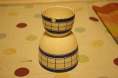Vintage British Anchor Cottage Green – Blue – Double Egg Cup – Rare Item! – (04/21/2012) This item stands 3 ½ inches high