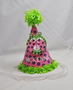Ladybug 1st Birthday Party Hat Girl