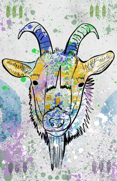 Goat Poster / Modern Design / Art / Color / Pop Art / Poster / Animal Print. Goat Poster - Hand drawn illustration combined with texture,color, and other graphic elements. Printed using archival ink and paper. Size is 11x17 in. Signed by me.