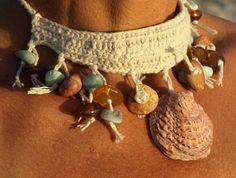 Dominican larimar & amber crochet choker-necklace, anklet, bracelet, sea shells, beach meditation stones, makrame, Barefoot sandal, Boho