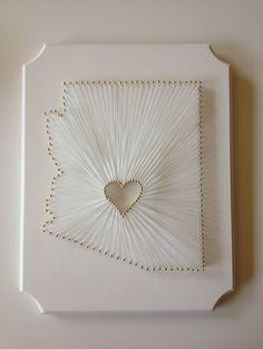 Starry Eyes + Coffee Cups: String Map Art + Heart in Arizona