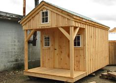 The four-foot porch and interior space is enhanced by the loft over the porch. The loft has a small opening window just right for that little investigator in your family. There is a bunk bed built into this cottage making it a real bunk house. A set of double doors can be added into this cottage, so the building will have additional uses once the kids outgrow it.