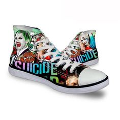 Harley Quinn Joker Ha Ha Ha DC Comics High Top Canvas Shoes Suicide Squad Movie
