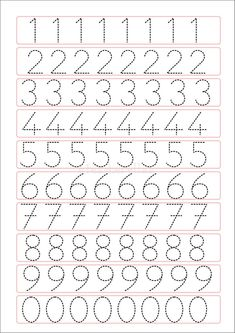Trace the Dotted Lines Worksheets for Kids - Preschool and Kindergarten Preschool Writing, Numbers Preschool, Preschool Learning Activities, Preschool Activities, Teaching Cursive Writing, Number Writing Practice, Number Tracing, Tracing Letters, Number Recognition