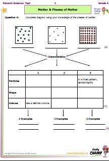 Natural Science : Grade 4 NS - Test: Matter