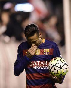 206e3cd8f66 Barcelona s Brazilian forward Neymar holds a ball during the Spanish league  football match CF Rayo Vallecano