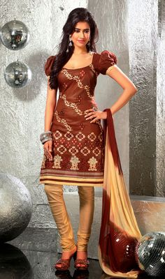 Brown Shade Cotton Churidar Kameez Whatever may be the occasion, get the party perfect look in this brown shade cotton churidar kameez. The charming resham work a considerable attribute of this attire. #CottonChuridarKameez #EmbroideredAnarkaliSuit