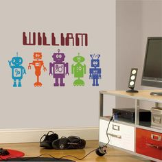 Robots Wall Sticker Decal boy's child bedroom by WondrousWallArt