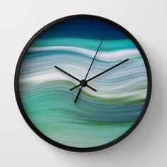 OCEAN ABSTRACT Wall Clock by Catspaws - $30.00