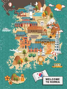 attractive South Korea travel map in flat style