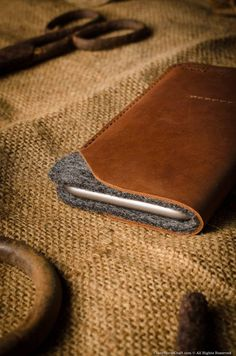 leather iphone 7 case wallet wool felt leather side