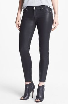 Paige Denim 'Verdugo' Coated Skinny Ankle Jeans (Black Silk)