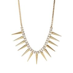 t+j Designs Crystal Spike Necklace (300 ARS) ❤ liked on Polyvore featuring jewelry, necklaces, crystal stone necklace, crystal necklace, crystal stone jewelry, bib jewelry and spike necklace