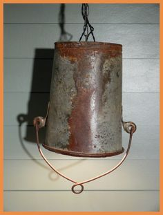 Vintage Bucket Hanging Light - Very Unique and VERY COOL - Rustic and Unique Buckets, Hanging Lights, Light Fixtures, Gypsy, Rustic, Jewels, Lighting, Unique Jewelry, Handmade Gifts