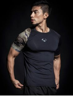 Mens Fitness, Fitness Apparel, Bodybuilding Workouts, Sport T Shirt, Workout Tops, Sport Outfits, Camouflage, Mens Tops, Shirts
