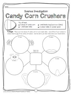 "Candy Corn Crushers: One of the 5 science investigations in ""Halloween Science."" (50 pages, K-2, $)"