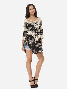 4641e498542 Streetstyle Casual Assorted Colors Embroidery Hollow Out Printed Loose  Fitting Chic Scoop Neck Short-sleeve-t-shirt