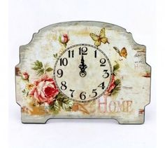 Stolní hodiny Motýlci Decorative Plates, Clock, Cottage, Indoor, Design, Home Decor, Clocks, Watch, Interior