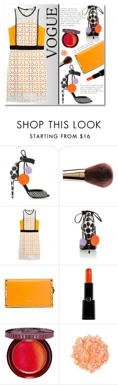 """Orange Touch"" by alialeola ❤ liked on Polyvore featuring Pierre Hardy, Dolce&Gabbana, MSGM, Valentino, Giorgio Armani, Paul & Joe Beaute, Sugarpill, orange, dress and blackandwhite"