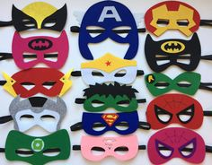 This listing is for a set of 15 Superhero Party mask. Each mask is made of premium felt, with a black elastic band sewn to each side of the back.  These adorable mask are great for any Superhero themed party, or for just playing dress up.  The shipping used on this listing is USPS Two Day Priority. Visit my shop: Http://www.etsy.com/shop/KsFeltFaces  Masks are sold in all quantities. For special quantities, message me, Ill be glad to make you a custom listing.