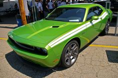 2011 Challenger R/T Classic - Green with Envy - White Stripe - photographed at the 2011 Mopar Nationals in Ohio.  https://flic.kr/p/axTs5W | IMGP0401 | 2011 Challenger R/T Classic - Green with Envy - White Stripe