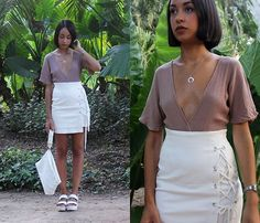 Get this look: http://lb.nu/look/8401281  More looks by Esther Luque: http://lb.nu/estherluque  Items in this look:  Zaful Metallic Horn Necklace, Rosegal Nude Romper, Romwe Lacing Side Skirt, Zara White Clutch, Missguided White Track Sandals   #casual #chic #minimal #neutrals #basic