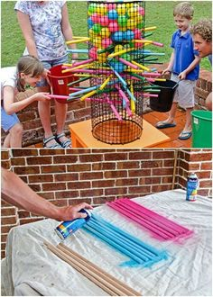 35 Ridiculously Fun DIY Backyard Games That Are Borderline Genius - Water Balloo. - 35 Ridiculously Fun DIY Backyard Games That Are Borderline Genius – Water Balloons – Ideas of W - Backyard For Kids, Diy For Kids, Kids Yard, Backyard House, Backyard Bbq, Backyard Carnival, Cool Diy, Easy Diy, Diy Games