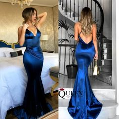 Junoesque Royal Blue Spaghetti Strap V-Neck Satin Fishtail Evening Dress With Sweep Train