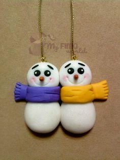 #Decorazioni #Natale pupazzi di #neve #fimo, by My FIMO world, 6,00 € su #misshobby.com