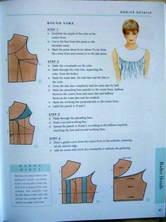 Neckline - blouse Dress Sewing Patterns, Blouse Patterns, Doll Clothes Patterns, Clothing Patterns, Bodice Pattern, Collar Pattern, Sleeve Pattern, Pants Pattern, Pattern Drafting Tutorials