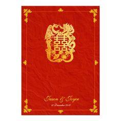 classic dragon double happiness wedding invitation - http://www.zazzle.com/classic_dragon_double_happiness_wedding_invitation-161115760133197540