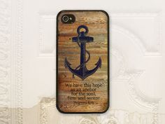 Christian anchor Hebrews 6.19 cell phone case, iPhone 4 4S 5 5s Samsung Galaxy S3 S4, Bible verse Hebrews 6:19 Hope as an anchor C2015 on Etsy, $17.99