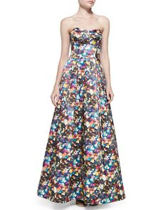Ava Strapless Glitter-Print Ball Gown by Milly at Neiman Marcus.
