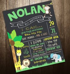 Jungle Theme First Birthday Chalkboard Poster Sign Printable - DIgital File JPG - Baby's First Birthday on Etsy, $19.00