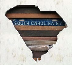 South Carolina made from various other wood pieces and license plates