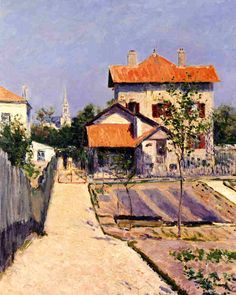 The Artist's House at Petit Gennevilliers  1882 - Gustave Caillebotte - (1848-1894) a French Impressionist painter and an early collector of Impressionist paintings. Though he was trained as an engineer, he also attended the Ecole des Beaux-Arts in Paris, where he studied under Bonnat.