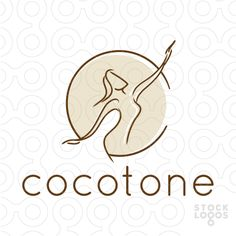 Beautiful graceful logo design of a stylized woman figure with her arms reaching outwards.