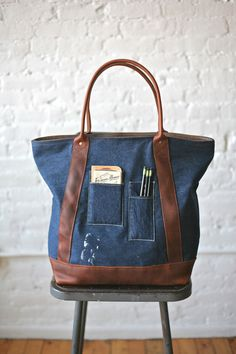 1940s era Denim & Leather Carryall from Forestbound