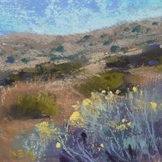 Southwest Landscape Chamisa  3.5x3.5 square by Karen Margulis