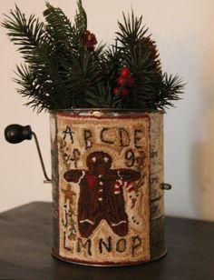 Primitive Punch Needle ~ Gingerbread man/ vintage flour sifter ~ Folk Art ~
