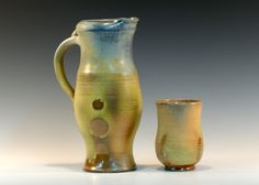 Pitcher and Tumbler from the 17-July-15 wood firing here at Pumpkin Creek Pottery... Layered glazes that interact with the flame and assh...