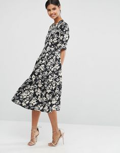Image 1 ofASOS Pleat Front Smock City Maxi Dress In Mono Floral
