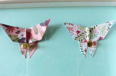 """Cadre enfant Papillons origami """"Végétal"""" - Décoration murale bébé et enfant"""