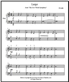 Largo from The New World Symphony by Antonin Dvorak - download this free printable PDF for early intermediate piano