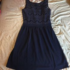 "Navy Lilly Pulitzer rhea lace dress Size small navy ""rhea"" dress. Lace top with gold zipper down back. Love this dress, but sadly it's too small on me. Bought from another posher but never worn by me. Lilly Pulitzer Dresses"