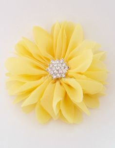 Yellow daisy chiffon flower with star rhinestone center - hair clip flower - fabric flowers - wholesale flowers - hair bow supplies - pinned by pin4etsy.com