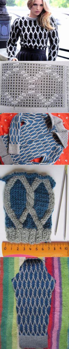 Вяжем ромбы. Техника объемного вязания. Мастер-класс, воплощение, схемы