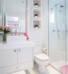 Omit the pink, and this can be great for a small bathroom. Construindo Minha Casa Clean: Banheiros e Lavabos! Bad Inspiration, Bathroom Inspiration, Casa Clean, Decoration Design, Small Bathroom, Bathroom Shelves, White Bathroom, Sink Shelf, Bathroom Storage
