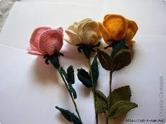 Horgolt rózsa leírás: kép forrása: http://stranamasterov.ru Szirom: Körkörösen horgoljunk...